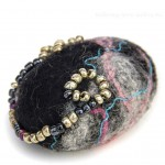 Felted and Beaded Stone
