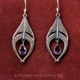 Feather Earrings with Amethyst Drops