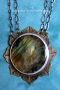 Brass Lotus Necklace with Labradorite