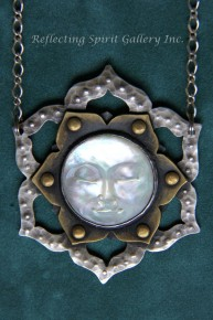 Lotus Necklace with Mother of Pearl Face