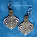 Brass Hammered Earrings with Rivets