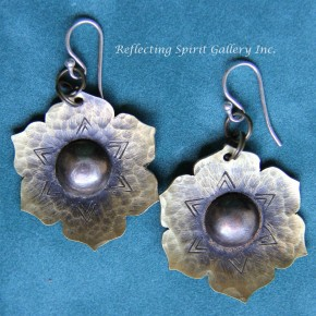 Lotus Hammered Brass Earrings