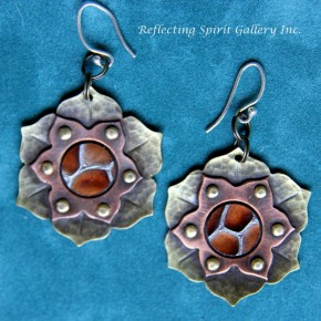 Lotus Flower Earrings with Leather Center