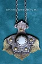 Brass Half Lotus Necklace with Howlite
