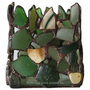 Green Beach Glass Votive Candle Holder