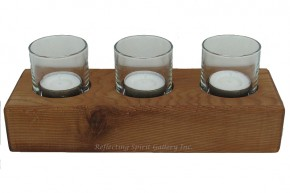 Three Votive Red Cedar Candle Holder