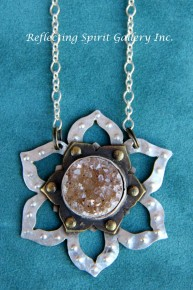 Lotus Pendant with Druzy Crystal