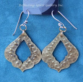 Hammered Brass Lotus Petal Earrings