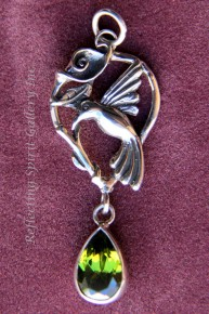 Hummingbird Pendant with Peridot