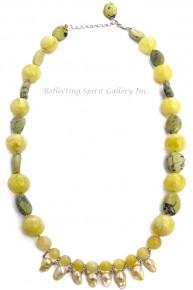 Keshi Pearl and Yellow Turquoise Necklace