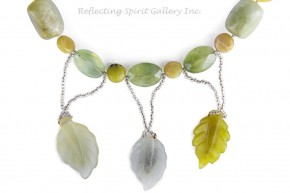 Quartz, Jade and Agate Leaf Necklace
