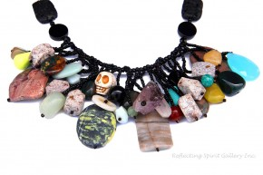 Multi Stone Necklace With Skull