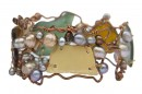 Sea Glass, Pearl and Copper Bracelet