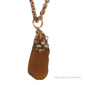 Amber Sea Glass Pendant