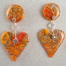 Orange Batik and Shimmer Heart Earrings