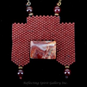 Delica Beaded Pendant with Agate and Garnet