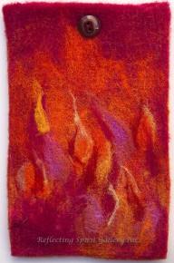 Red Flame Felted Case