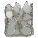 White Beach Glass Votive Candle Holder
