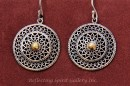 Double Mandala Silver Earrings - Bronze Centre